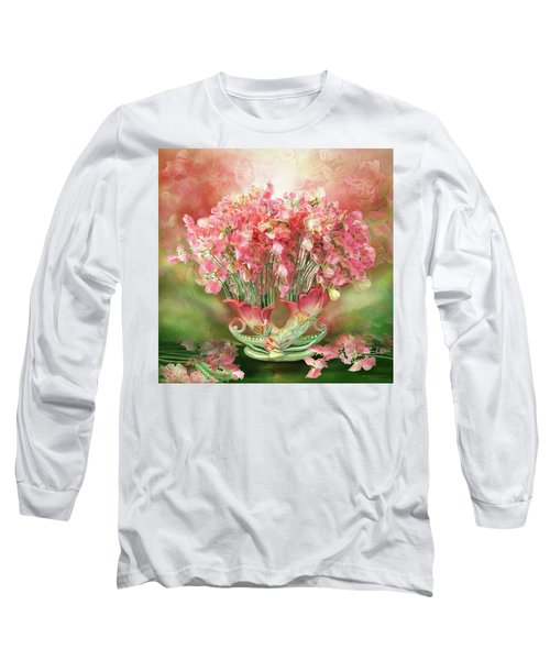 Long Sleeve T-Shirt featuring the mixed media Sweet Peas In Sweet Pea Vase 2 by Carol Cavalaris