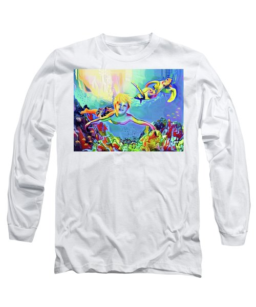 Swimming With Turtles Long Sleeve T-Shirt by Jann Paxton
