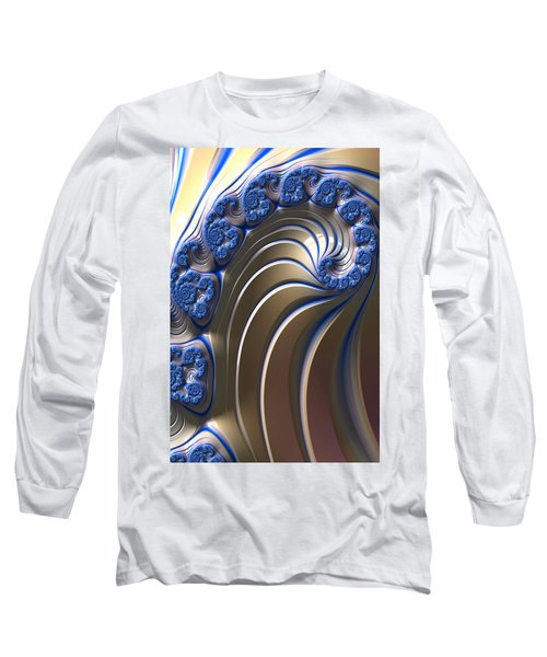 Swirly Blue Fractal Art Long Sleeve T-Shirt by Bonnie Bruno
