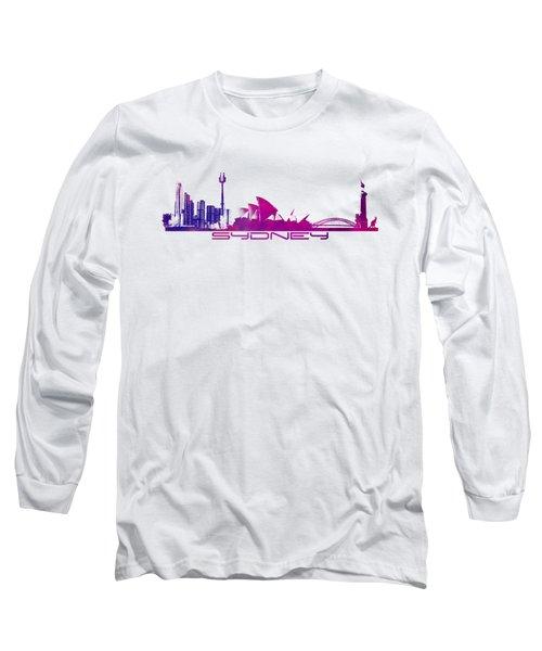 Sydney Skyline Purple Long Sleeve T-Shirt