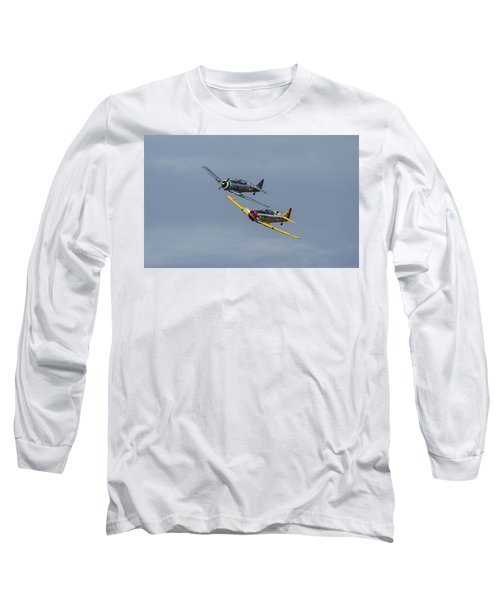 Long Sleeve T-Shirt featuring the photograph T-6 Trainers by Elvira Butler