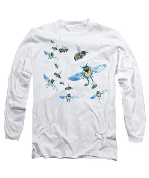 T-shirt With Bees Design Long Sleeve T-Shirt by Jan Matson