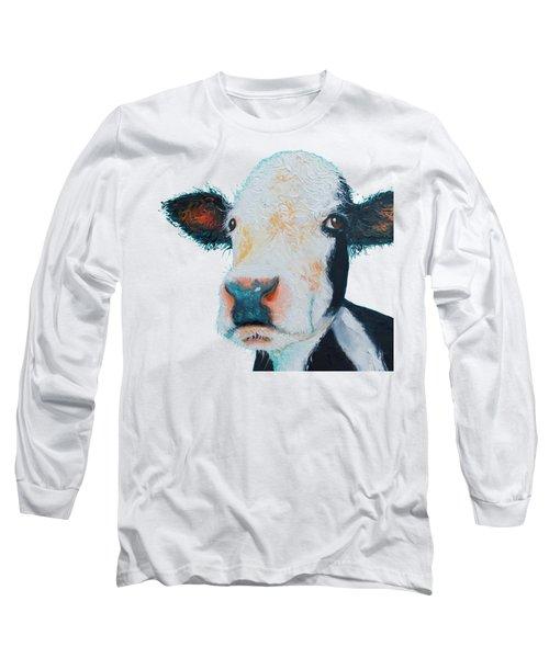 T-shirt With Cow Design Long Sleeve T-Shirt by Jan Matson