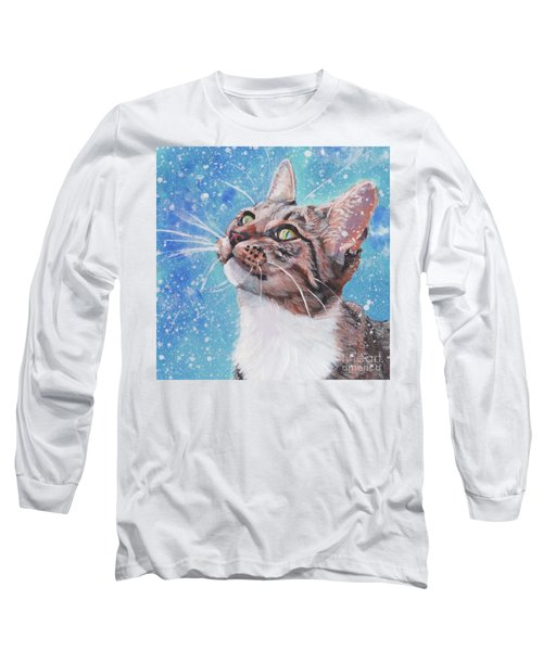 Long Sleeve T-Shirt featuring the painting Tabby Cat In The Winter by Lee Ann Shepard