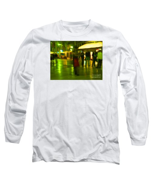 Long Sleeve T-Shirt featuring the mixed media Tango Dance In Rain by Haleh Mahbod