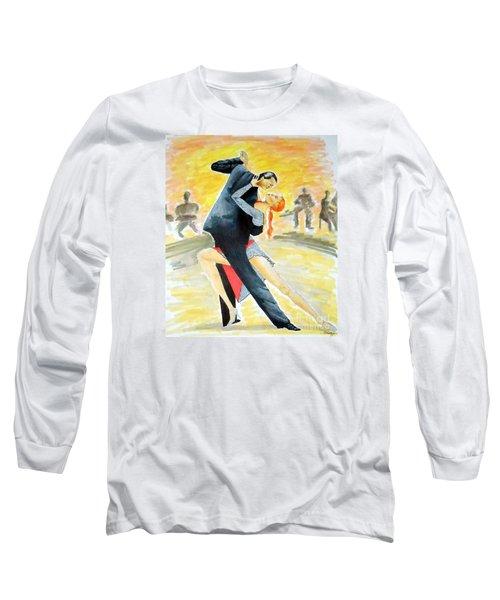 Tango Tangle -- Portrait Of 2 Tango Dancers Long Sleeve T-Shirt