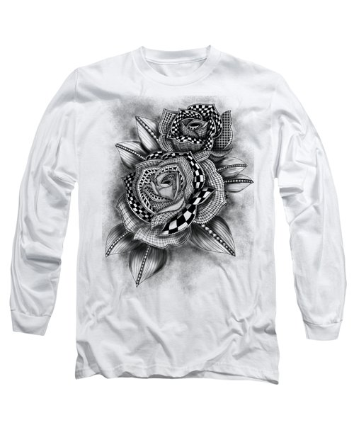Tattoo Rose Greyscale Long Sleeve T-Shirt