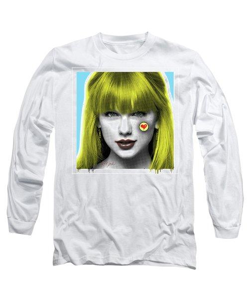 Taylor Swift, Pop Art, Portrait, Contemporary Art On Canvas, Famous Celebrities Long Sleeve T-Shirt by Dr Eight Love