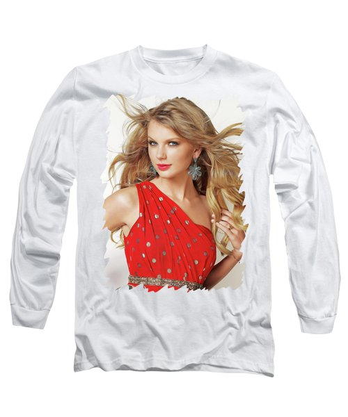 Taylor Swift Long Sleeve T-Shirt by Twinkle Mehta