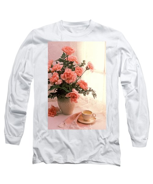 Tea Cup With Pink Carnations Long Sleeve T-Shirt