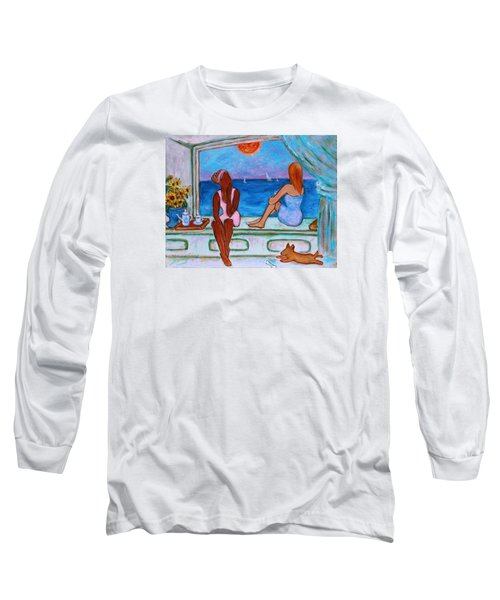 Long Sleeve T-Shirt featuring the painting Teatime I by Xueling Zou