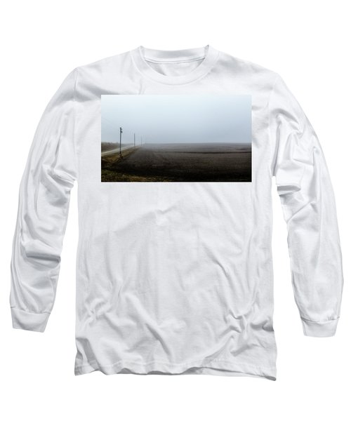Telephone Poles Along A Foggy Field Long Sleeve T-Shirt