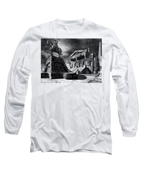 Long Sleeve T-Shirt featuring the drawing Temple Of Perseus by Curtiss Shaffer