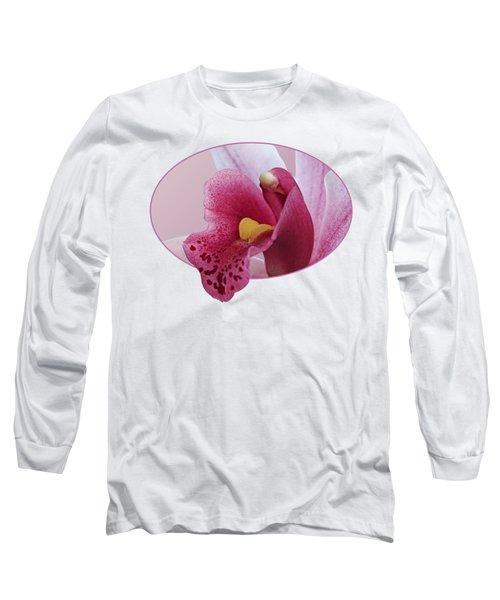 Temptation - Pink Cymbidium Orchid Long Sleeve T-Shirt by Gill Billington