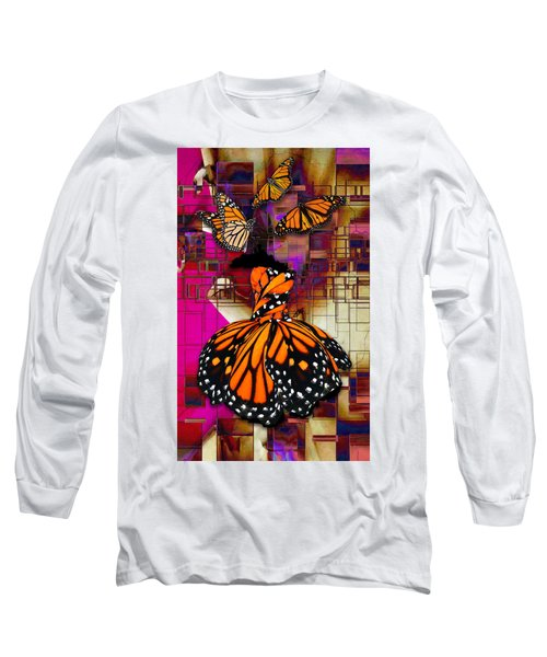 Long Sleeve T-Shirt featuring the mixed media Tenderly by Marvin Blaine