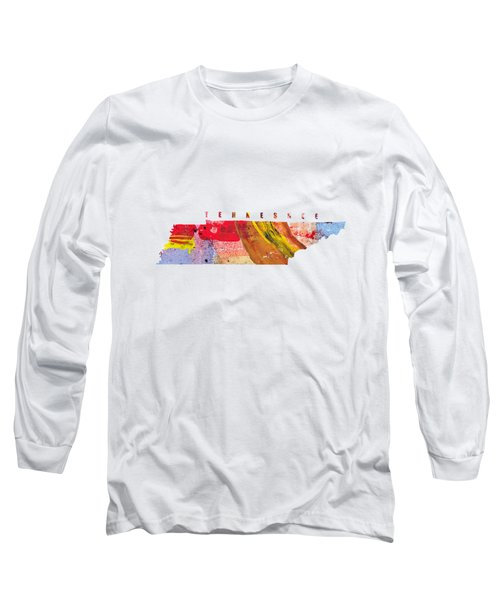 Tennessee Map Art - Painted Map Of Tennessee Long Sleeve T-Shirt