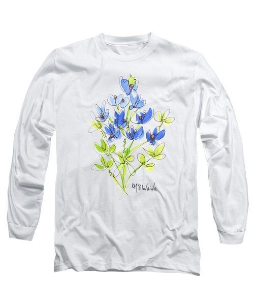 Texas Bluebonnet Botanical Long Sleeve T-Shirt by Kathleen McElwaine
