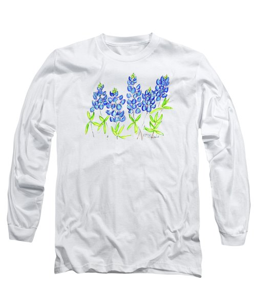 Texas Bluebonnets Watercolor Painting By Kmcelwaine Long Sleeve T-Shirt