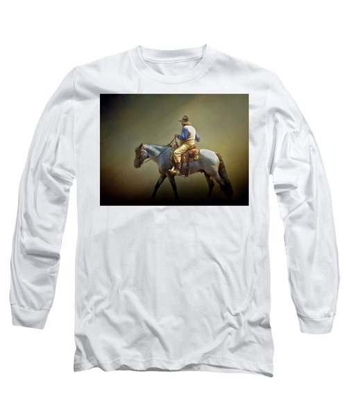 Long Sleeve T-Shirt featuring the photograph Texas Cowboy And His Horse by David and Carol Kelly