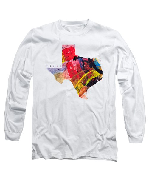 Texas Map Art - Painted Map Of Texas Long Sleeve T-Shirt