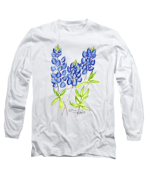 Texas State Flower The Bluebonnet Long Sleeve T-Shirt by Kathleen McElwaine