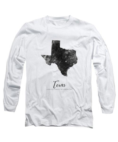 Texas State Map Art - Grunge Silhouette Long Sleeve T-Shirt