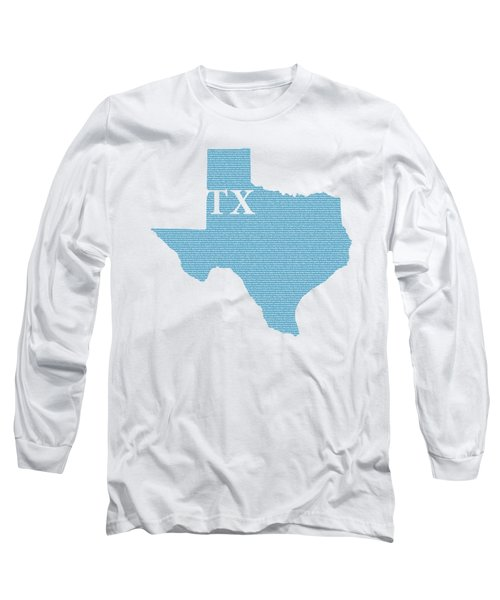 Texas State Map With Text Of Constitution Long Sleeve T-Shirt