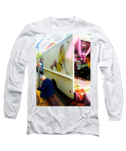 Texting Under Her Watchful Eye  Long Sleeve T-Shirt