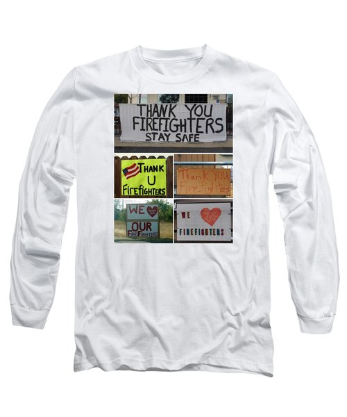 Thank You Firefighters Collage Long Sleeve T-Shirt by Patricia Strand