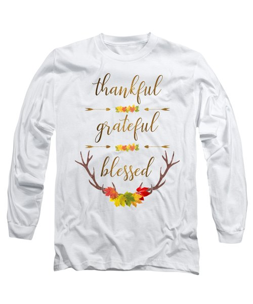 Thankful Grateful Blessed Fall Leaves Antlers Long Sleeve T-Shirt