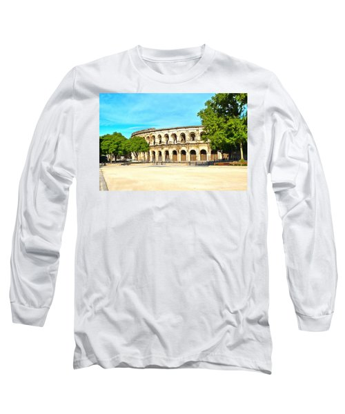 The Amphitheatre Nimes Long Sleeve T-Shirt by Scott Carruthers
