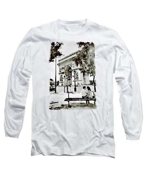 The Arc De Triomphe Paris Black And White Long Sleeve T-Shirt by Marian Voicu