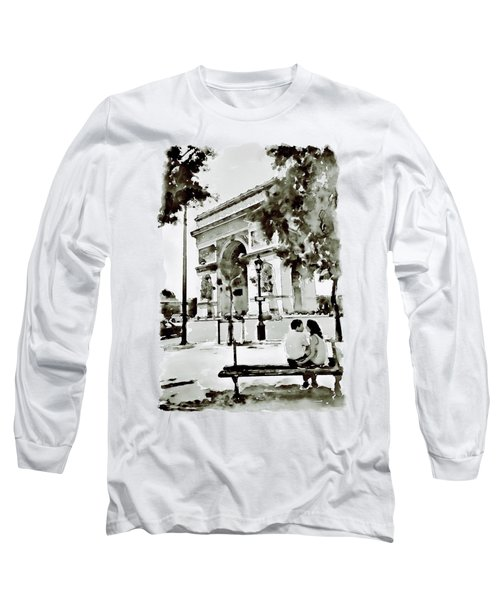 The Arc De Triomphe Paris Black And White Long Sleeve T-Shirt