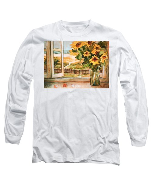 Long Sleeve T-Shirt featuring the painting The Beach Sunflowers by Winsome Gunning