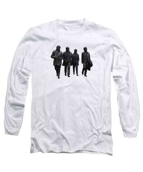 Long Sleeve T-Shirt featuring the digital art The Beatles On White by Movie Poster Prints