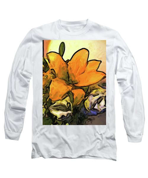 The Big Gold Flower And The White Roses Long Sleeve T-Shirt