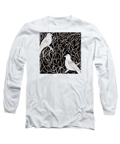 Long Sleeve T-Shirt featuring the drawing The Birds by Lou Belcher