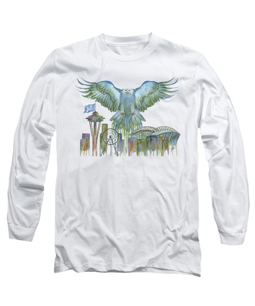 The Blue And Green Overlay Long Sleeve T-Shirt