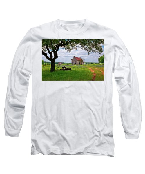 Long Sleeve T-Shirt featuring the photograph The Bluebonnet House by Linda Unger