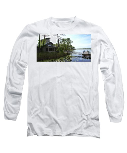 The Boathouse At Watercolor Long Sleeve T-Shirt by Megan Cohen