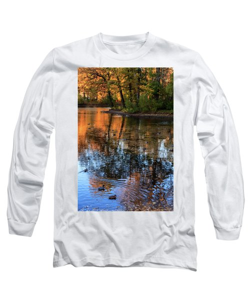 The Bright Colors Of Autumn, Quiet Evenings Are Reflected In The Waters Of The City Pond Long Sleeve T-Shirt