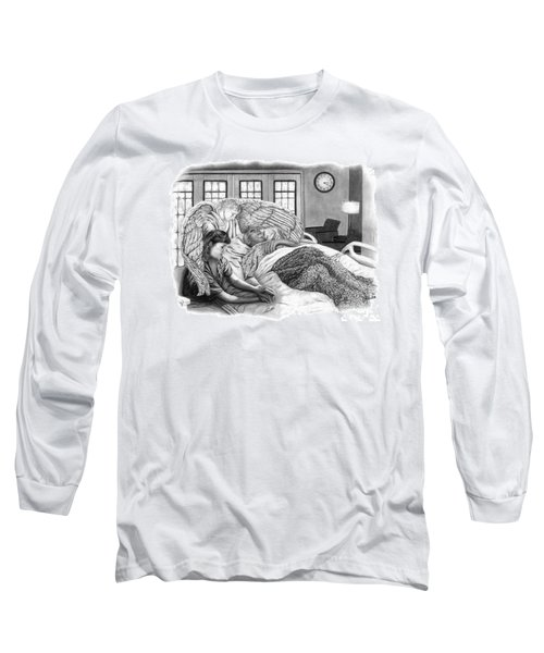 Long Sleeve T-Shirt featuring the drawing The Caregiver by Peter Piatt