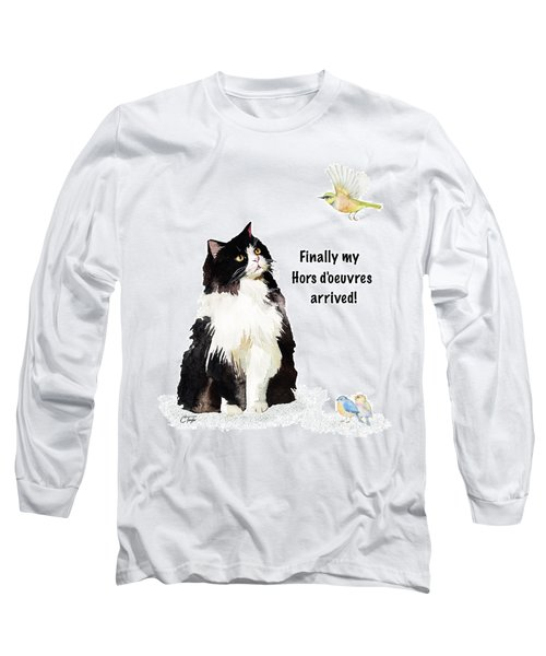 Long Sleeve T-Shirt featuring the painting The Cat's Hors D'oeuvres by Colleen Taylor