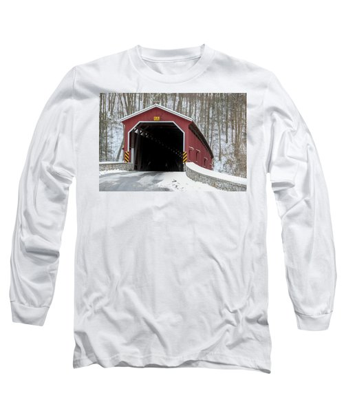 The Colemansville Covered Bridge In Winter Long Sleeve T-Shirt