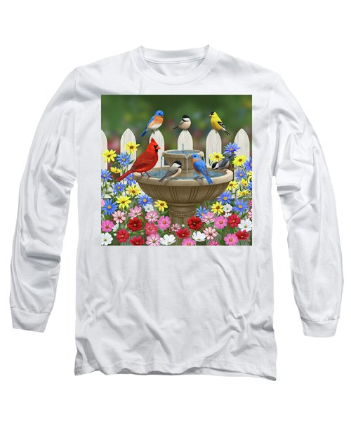 The Colors Of Spring - Bird Fountain In Flower Garden Long Sleeve T-Shirt