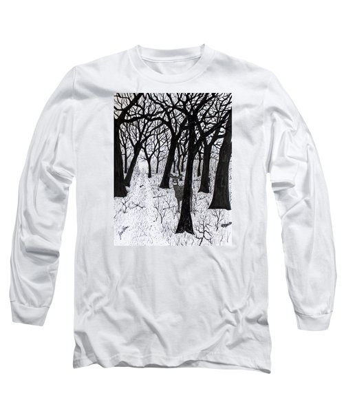 Long Sleeve T-Shirt featuring the drawing The Crossing  160120 by Jack G Brauer