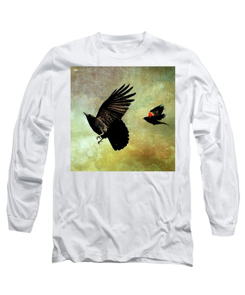 The Crow And The Blackbird Long Sleeve T-Shirt by Peggy Collins