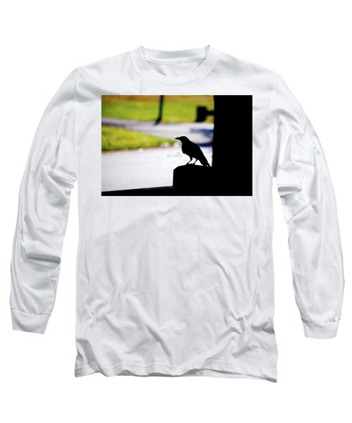 Long Sleeve T-Shirt featuring the photograph The Crow Awaits by Karol Livote