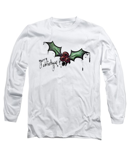 Long Sleeve T-Shirt featuring the painting The Cutest Little Creepmas by Lizzy Love