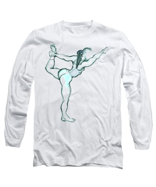 Long Sleeve T-Shirt featuring the mixed media The Dancer - Yoga Pose by Carolyn Weltman